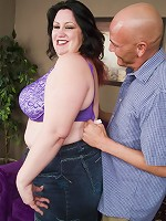 Sexy BBW Matalla doing a little striptease for the camera and spreads wide to get torpedoed
