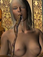 3D Hussy chokes on 3D Goblin and eats sperm