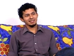 Sexy latino playing with his hard dick on the blue couch