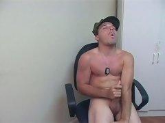 Military Man Masturbates On Chair Till Come