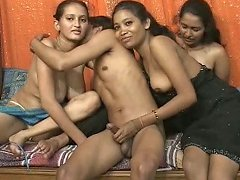 Rubbish Indian Sluts Are Furiously Sucking One Dripping Cock