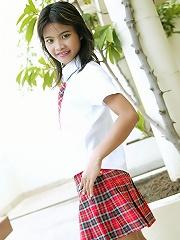 Schoolgirl Tussinee in an after school photo shoot
