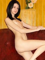 Brunette honey reveals her sexy body
