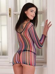 Nubiles.net Denisa Doll - Dark haired hottie Denisa Doll flaunts her tiny frame in black thongs
