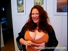 Redheaded Bbw Wife And Hubby Film A Fuck And Facial Scene