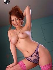 Gorgeous Asian Yuki Aida in sexy lingerie shows her big boobs