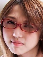 Glasses clad Rino Mizusawa has her pussy filled with jizz
