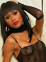Bawdy ladyboy in fishnets shows off her assets