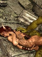 3D Elf rides on 3D boyfriend after slammed
