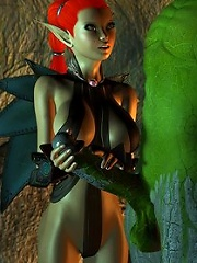 He is embracing that World of Warcraft porn 3D bitch from behind and she is all flickering