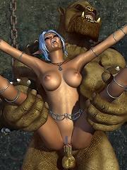 Anime Slut gets caught and licks 3D forest elf