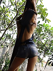 Hot and lovely Asian model enjoys showing off her nice tits and ass